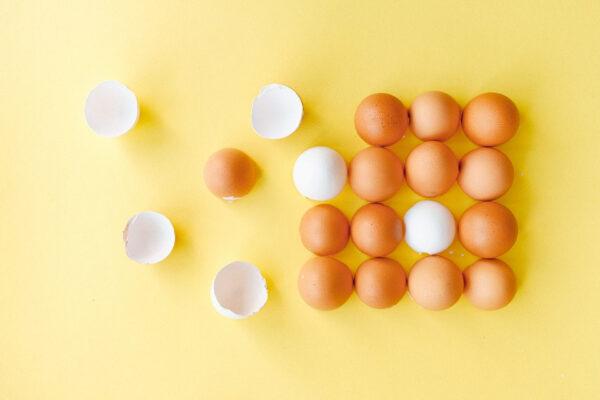 Auf einem gelben Untergrund liegen Eier – teilweise aufgeschlagen, teils noch ganz