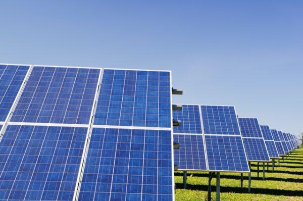 Einige Solarplatten stehen auf einer Wiese